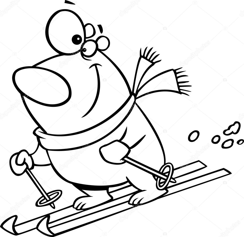 vector of a cartoon skiing polar bear outlined coloring page