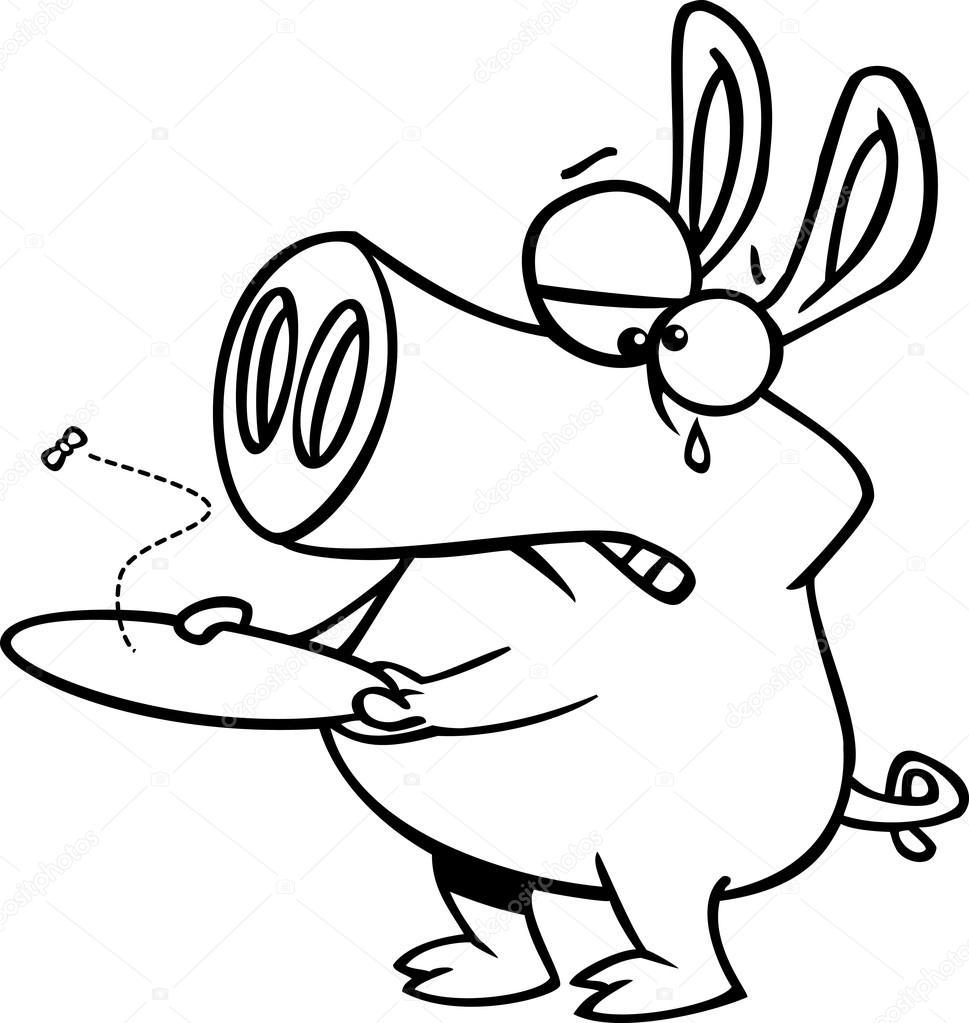 Vector de un cerdo de dibujos animados con un plato vacío - Página ...