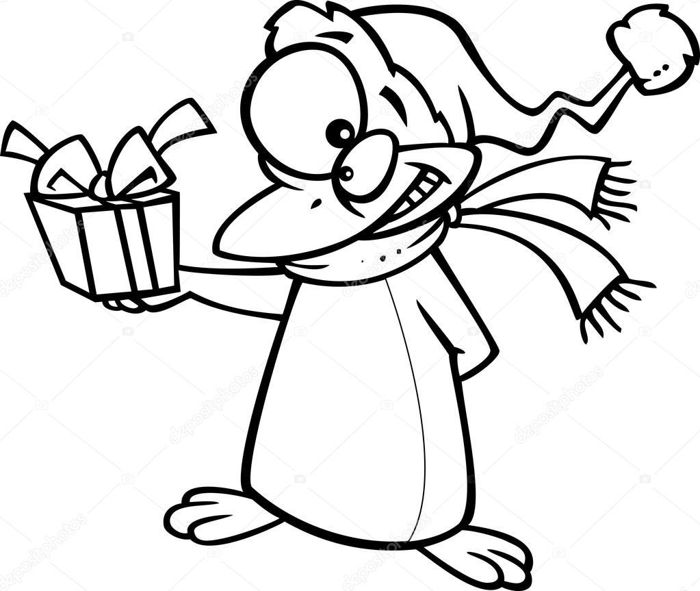 Vector Van Een Cartoon Kerstmis Pinguin Geven Een Cadeau Overzicht