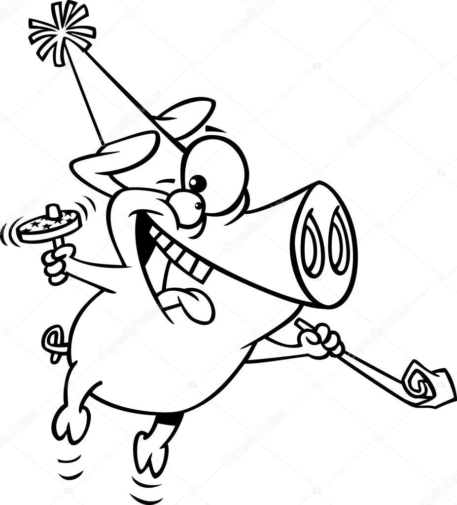 Vector de un cerdo de dibujos animados año nuevo partido - página ...