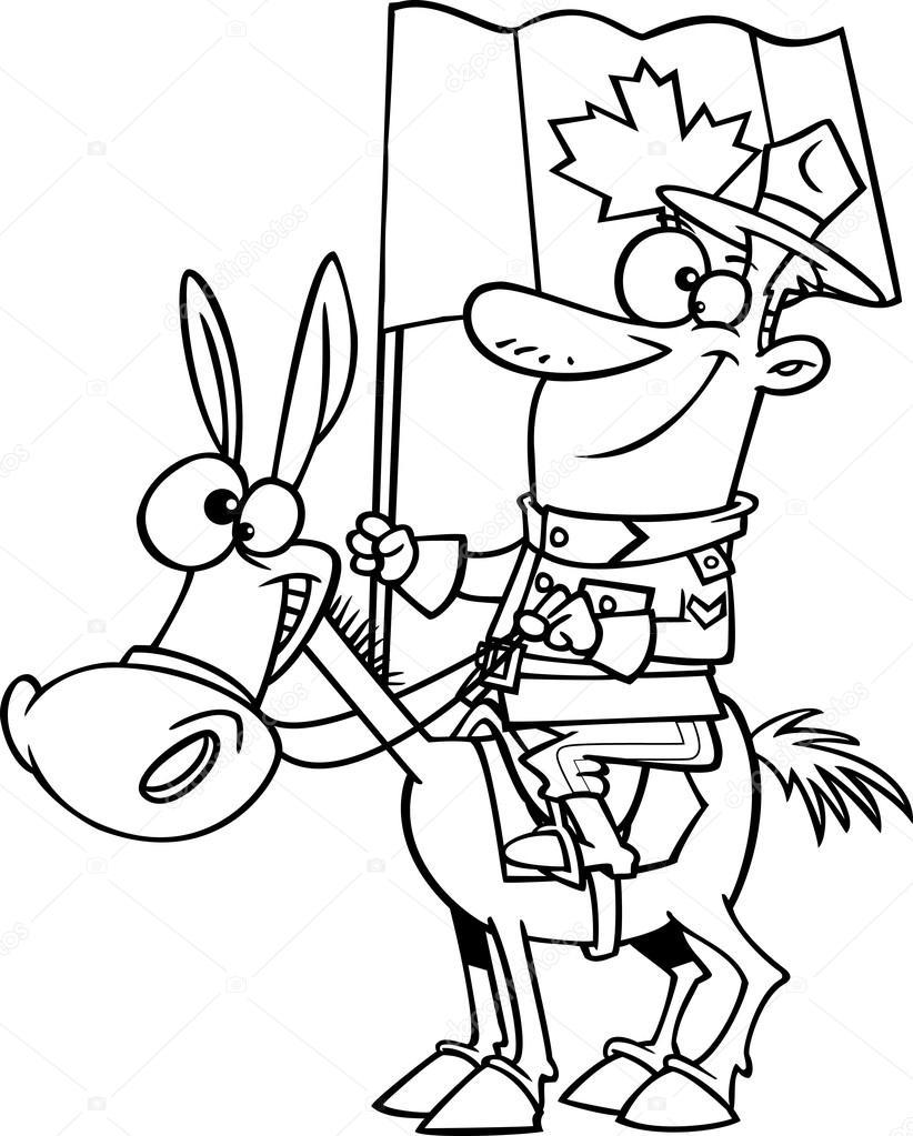 vector van een cartoon mountie op een paard