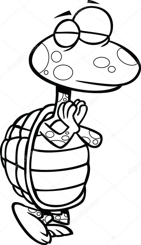 Beyaz Zemin üzerinde Bir Poz Bir Anahatlı Yoga Kaplumbağa çizimi