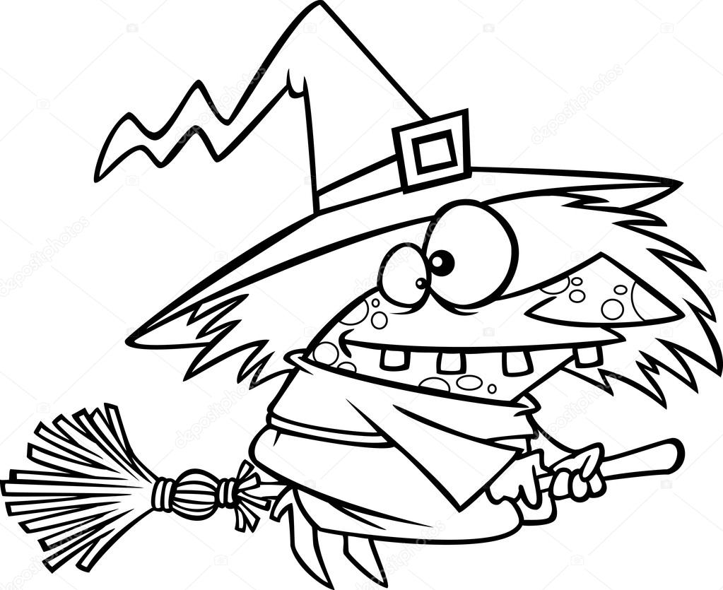 Vector Of A Cartoon Warted Witch On Her Broomstick Outlined