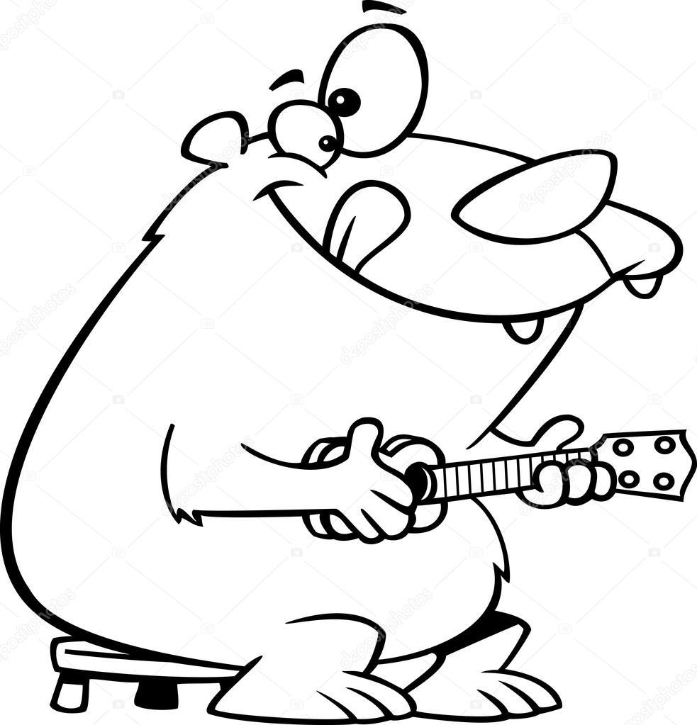 Vector clipart de un oso de dibujos animados tocando un ukelele ...