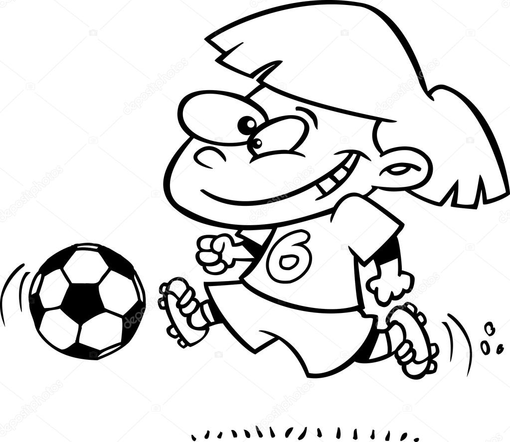 Clipart Black And White Kid Sports Clip Art Of A Black And White Boy Kicking A Soccer Ball Stock Vector C Ronleishman 14004560