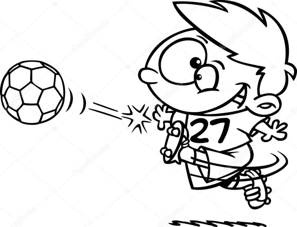 Clipart Soccer Cliparts Clipart Outlined Boy Kicking A Soccer Ball Stock Vector C Ronleishman 14004562