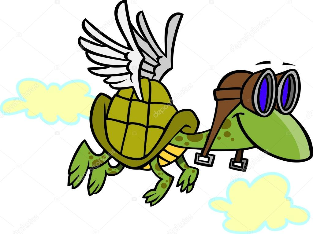 Beyaz Zemin üzerine Pilot Gözlüğü Ile Uçan Kaplumbağa çizimi Stok