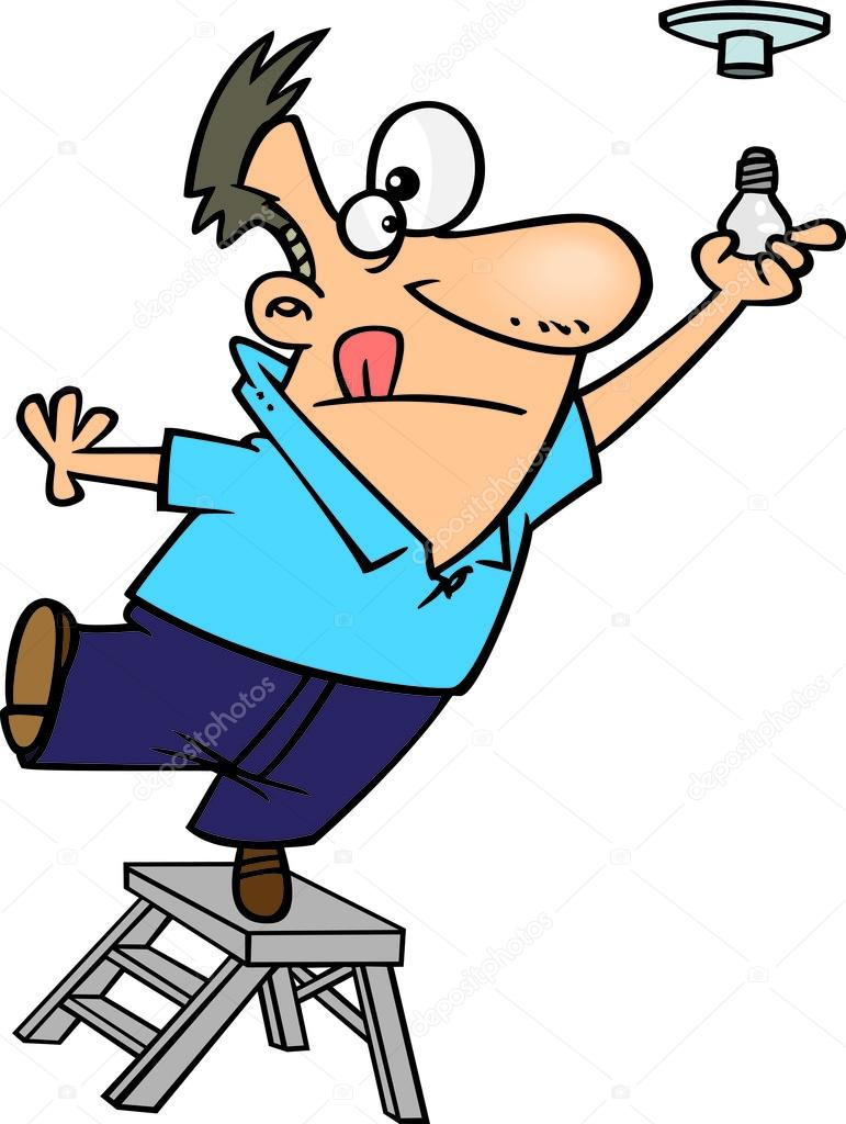 Clipart Man Standing On The Top Of A Ladder And Installing ...
