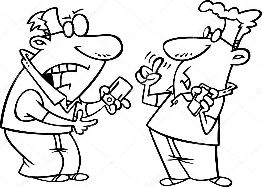 Vector de dibujos animados techie hombres teniendo un debate sobre ...