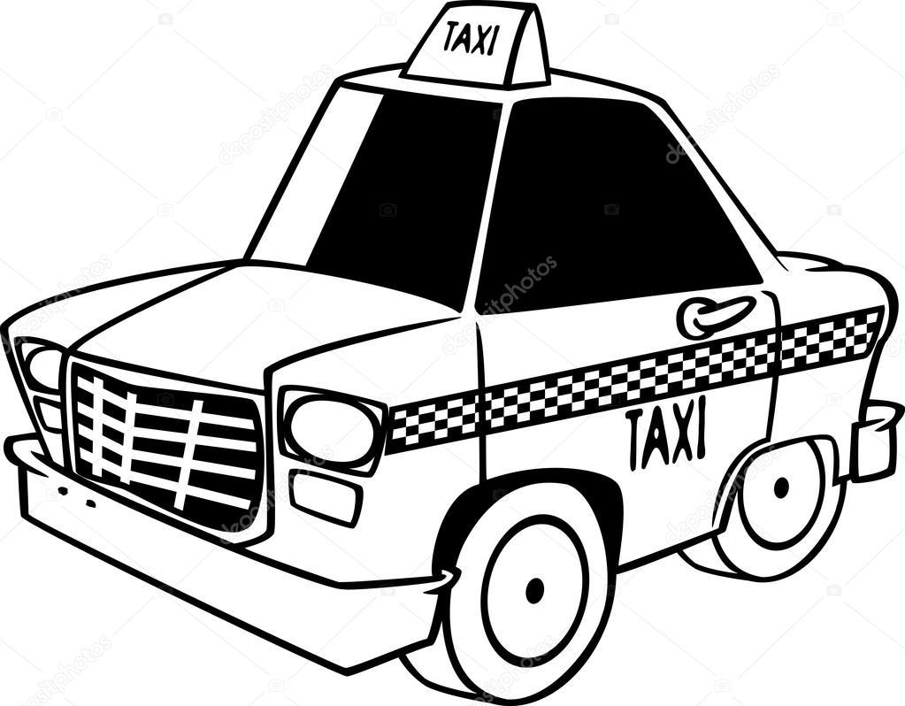 Imágenes: taxi para colorear | Vector de un dibujo animado ...