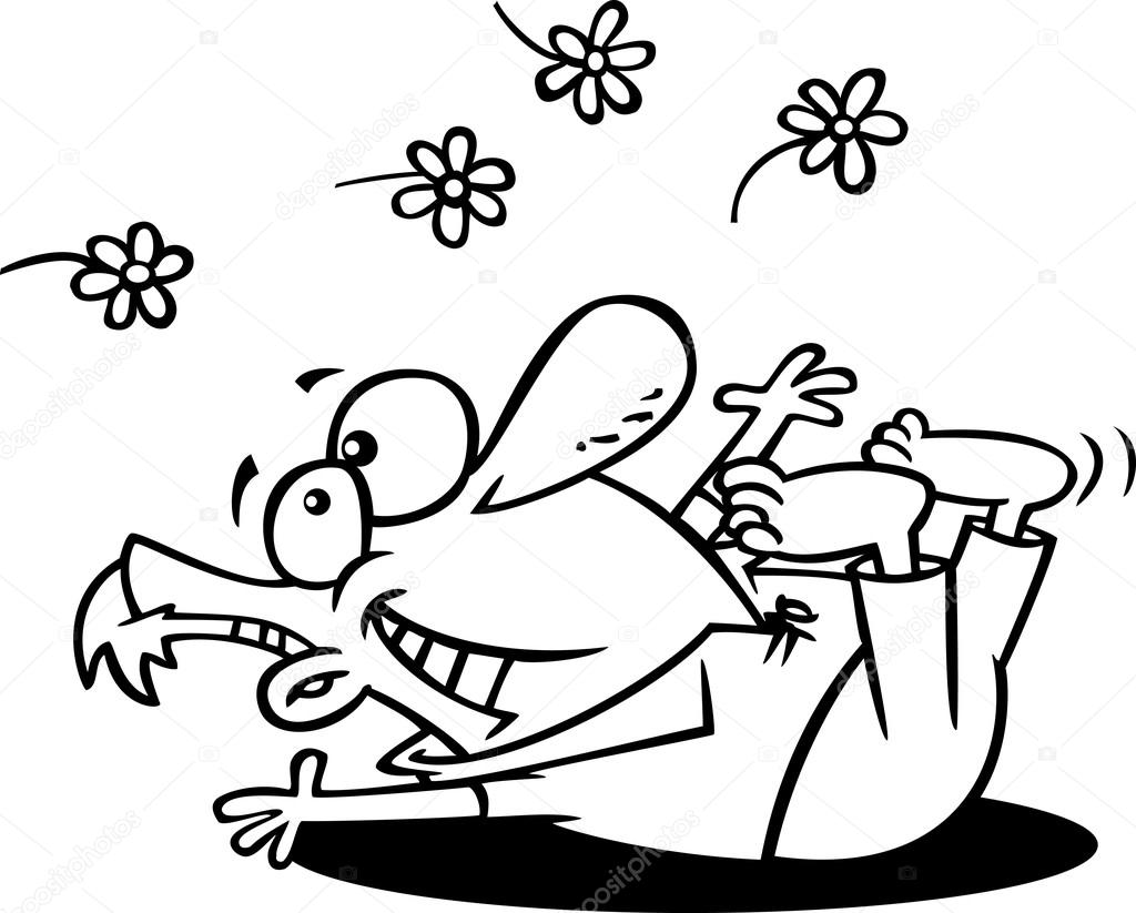 Vector de dibujos animados primavera aventura hombre jugando en ...
