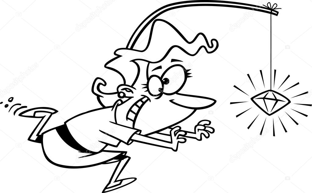Clipart Outlined Woman Chasing A Sparkling Diamond On A Stick