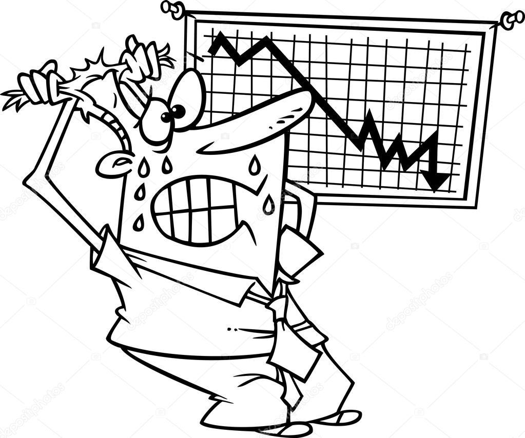 Vector de dibujos animados subrayó empresario visualizar un gráfico ...