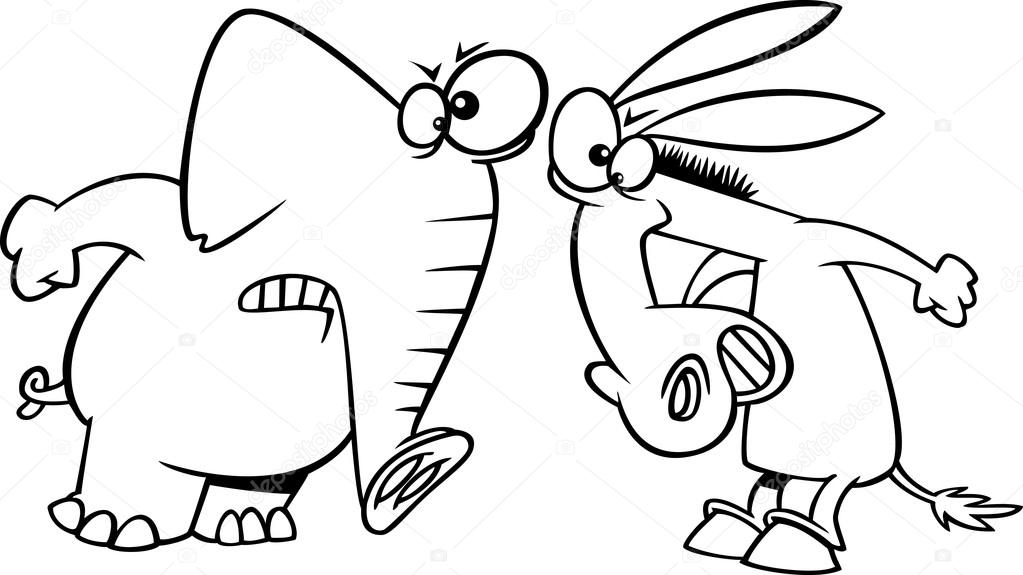 Vector Of A Cartoon Opposing Democratic Donkey And Republican Elephant