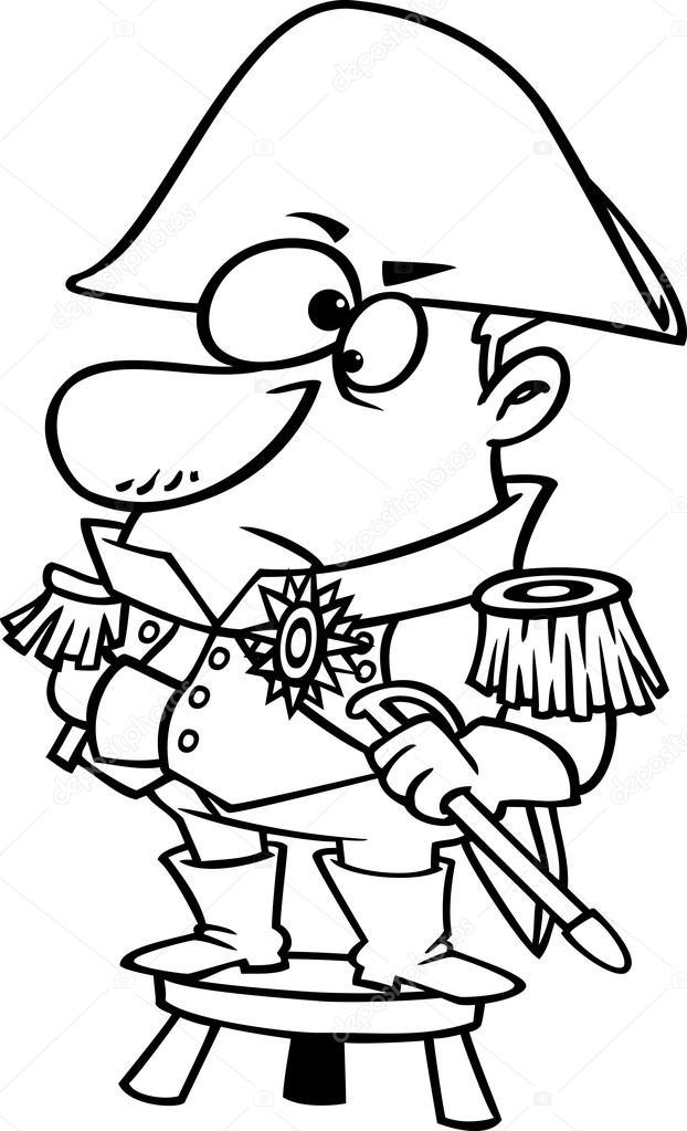 Clipart esbozado a capitán corto parado sobre un taburete ...