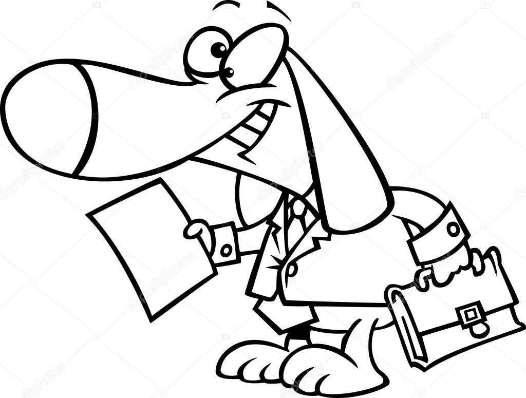 vector of a cartoon legal beagle attorney lawyer dog holding a document outlined coloring page