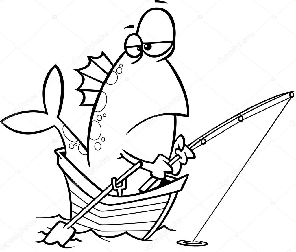 vector of a cartoon fish fishing from a boat outlined coloring