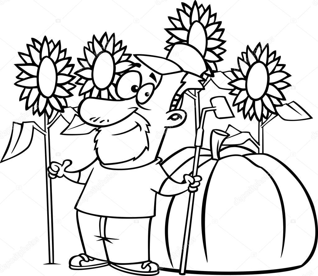 Vector de un granjero de pulgar verde dibujos animados con una ...