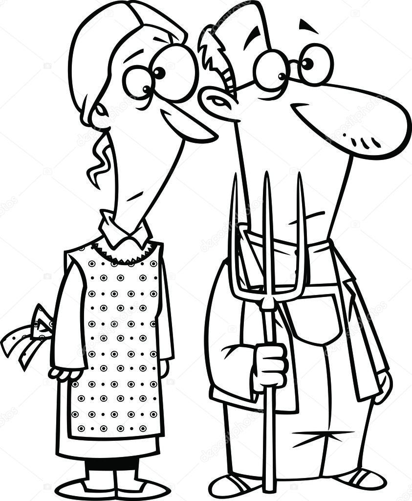 Vector de una pareja gótica granja dibujos animados con un tenedor ...