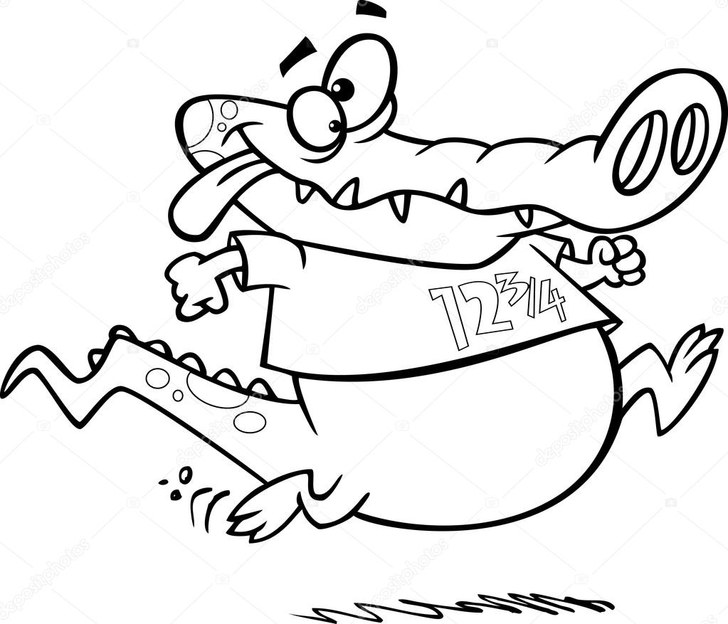 vector of a cartoon jogging alligator outlined coloring page