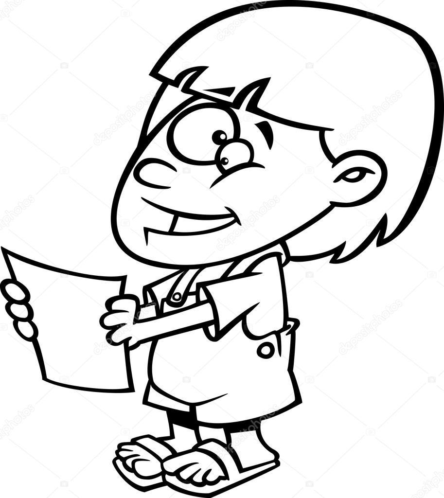 Vector de una chica feliz de dibujos animados sosteniendo un informe ...