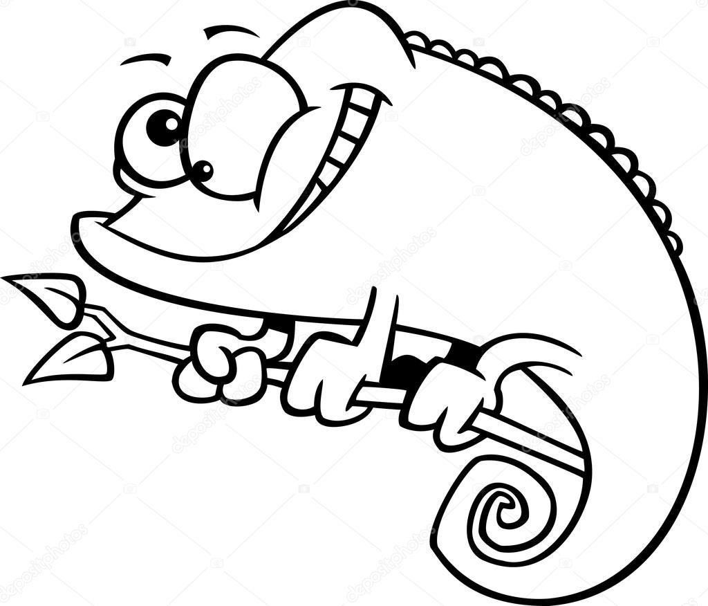Vector de un lagarto camaleón feliz dibujos animados - Página para ...