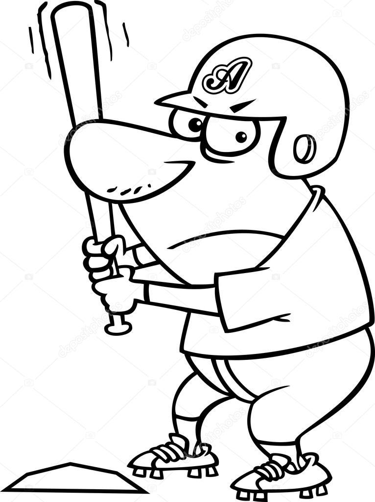 Vector de un jugador de béisbol agresivo historieta bateo en casa ...