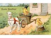 ročník velikonoční pohlednice z kuřete na velikonoční vůz p