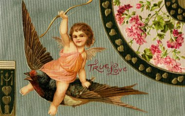 A vintage True Love Valentine with Cupid riding a sparrow