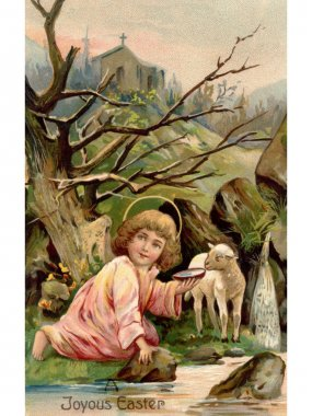 A vintage Easter postcard of a little angel with a lamb by the r
