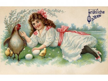 A vintage Easter postcard of a girl with a hen chicks and eggs on a farm