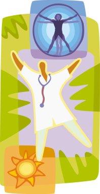 Lifestyle doctor Vitruvian man sun