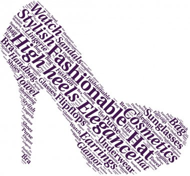 Word cloud in a shape of high heel. The shoe is made of different female fashion accessories.