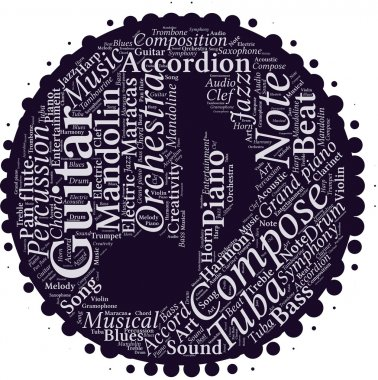 Word cloud with music terms in note shape inside.