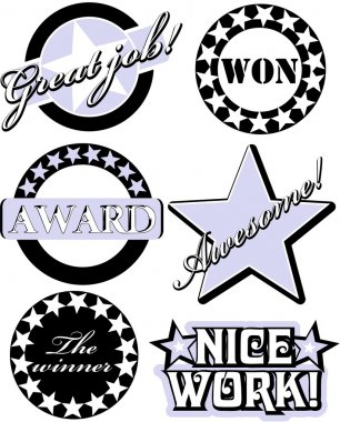 Rubber stamp with the text great job, won, award, nice work, the winner and awesome written inside the stamp