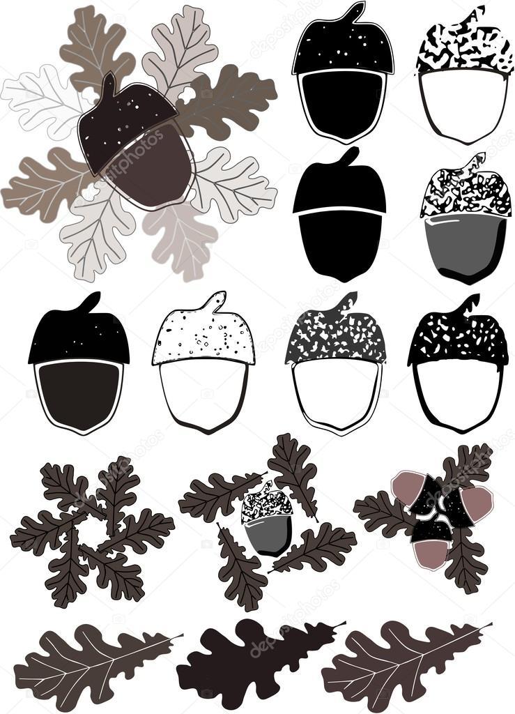 siluetas de las bellotas y las hojas del roble — Archivo Imágenes ...