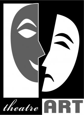 Theatre poster template in simple classic style with happy and sad mask.