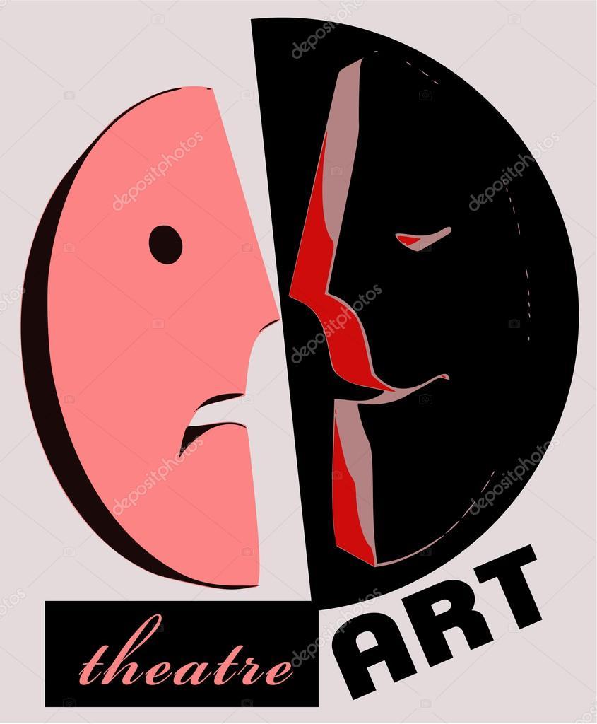 plantilla de cartel de teatro en estilo clásico y simple con máscara ...
