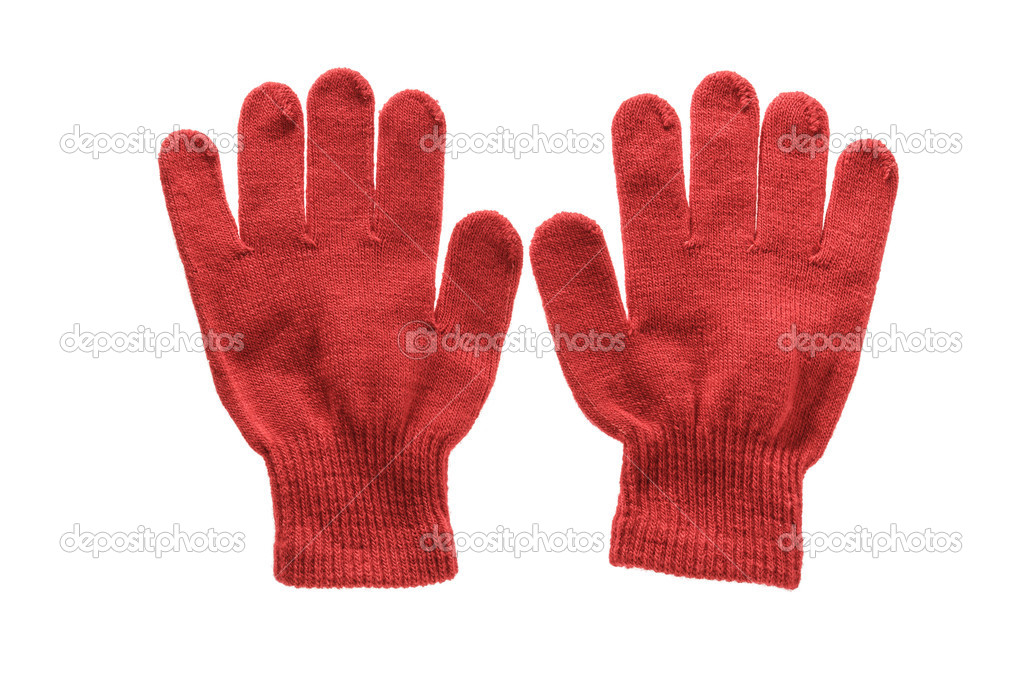 Red knitted cloth kid gloves with pattern isolated on white bac ...