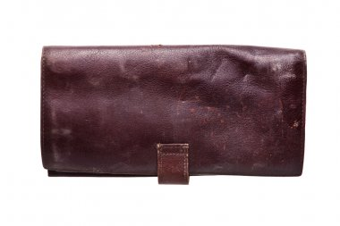 Old leather wallet, isolated on white