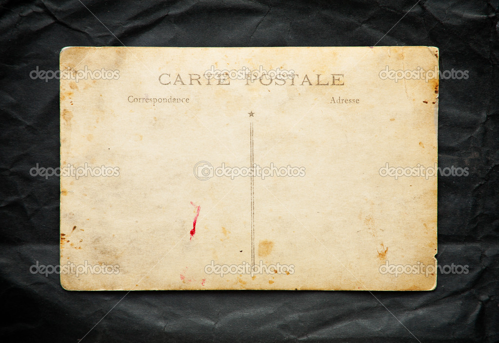 Vintage Postcard On Black Old Paper Texture Stock Photo