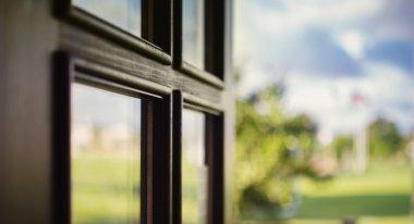 Close-up picture of balcony door, summer outdoor