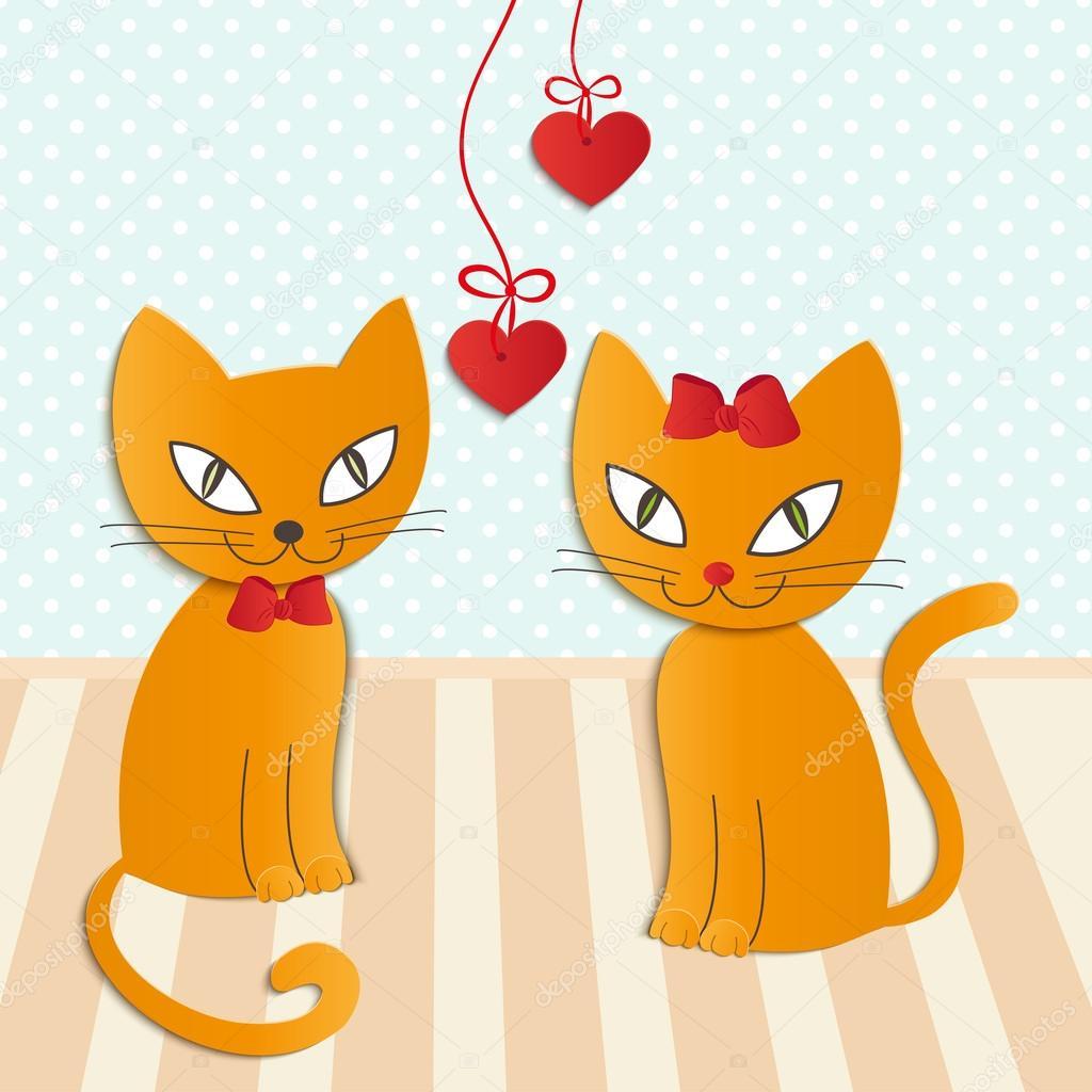 2 つの愛する猫 - イラスト、ベクトルのロマンチックなカップル