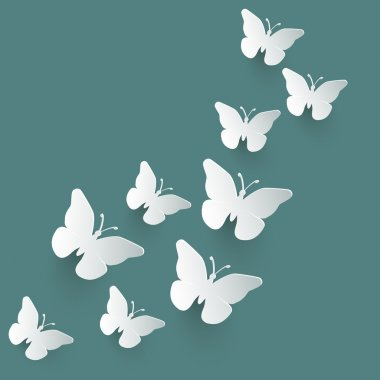 Vector background with paper butterflies.