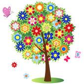 Kvetoucí strom - ilustrace, vektor