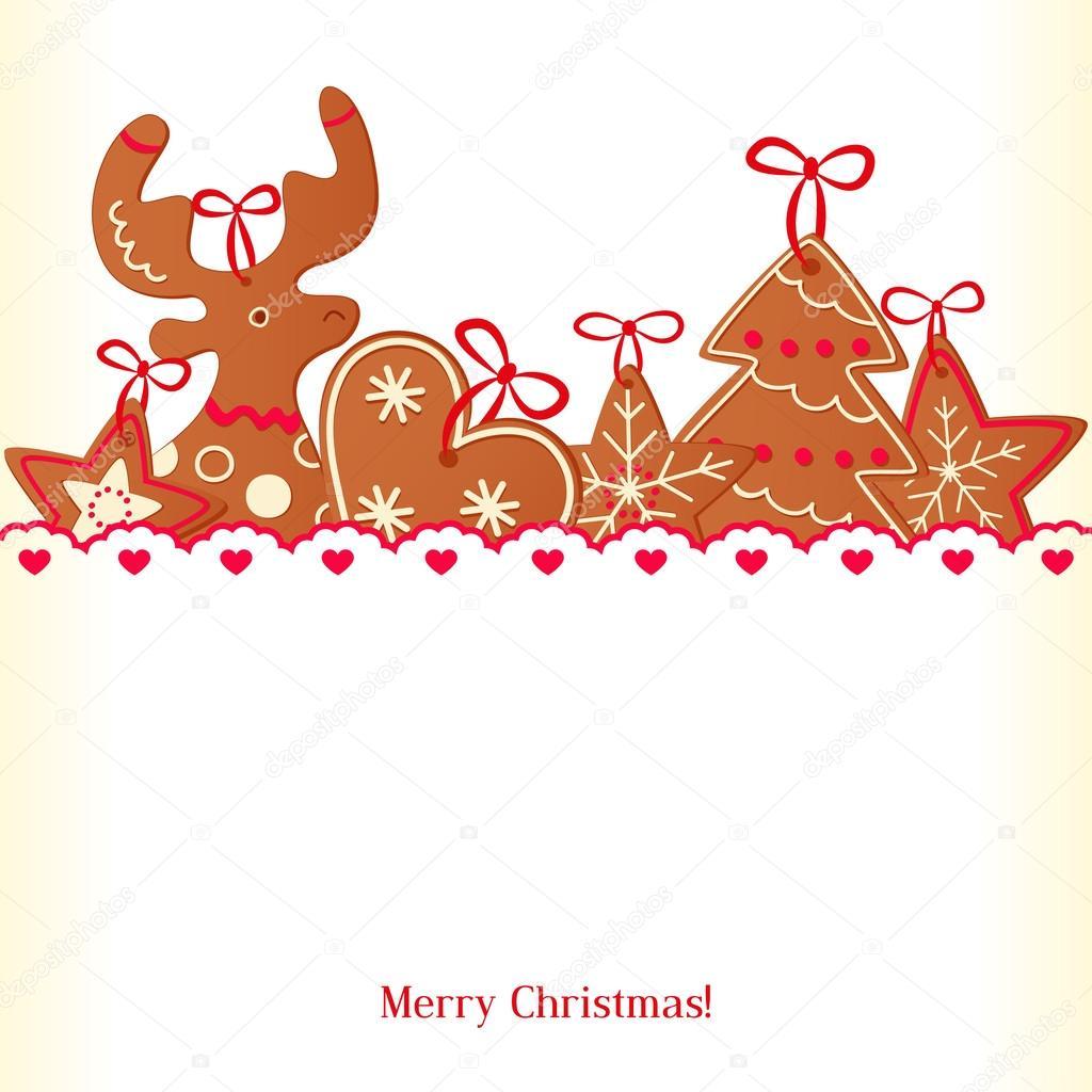 Merry Christmas Greeting Card Design Christmas Cookie Stock