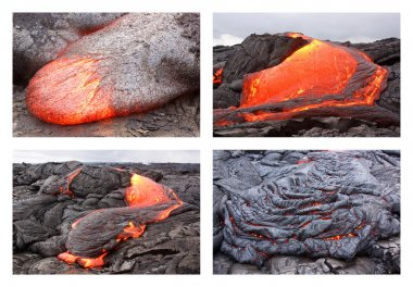 Lava flow in various forms