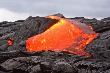 Red hot lava flowing