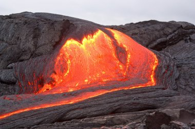 Red hot lava flowing in Hawaii