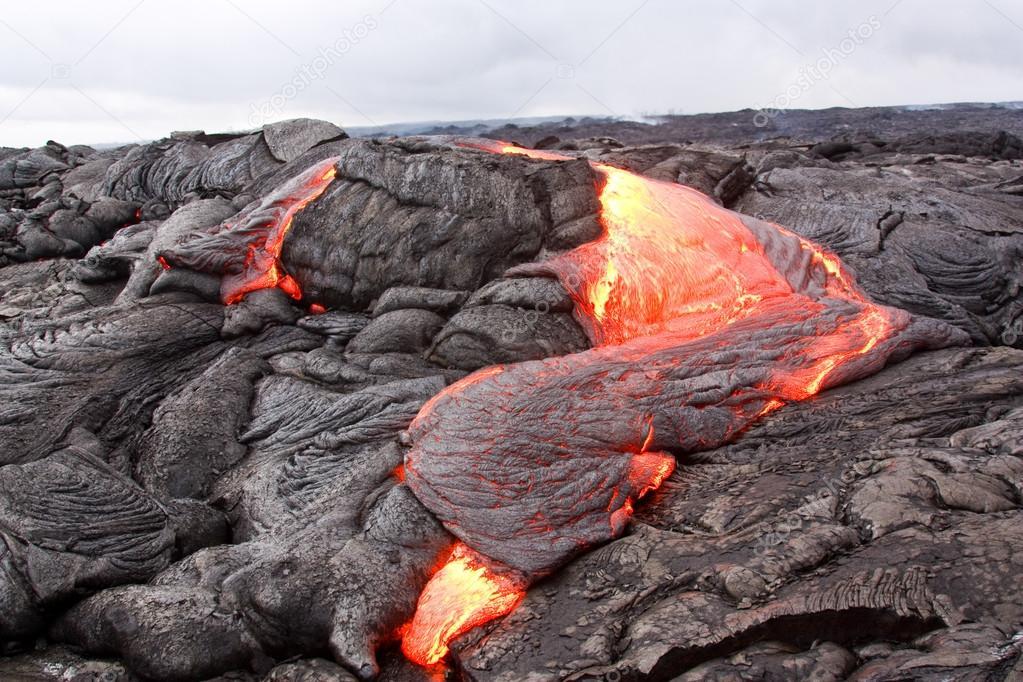 Active lava flow in Hawaii